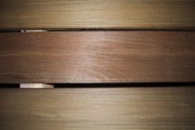 close up of Ipe sauna bench