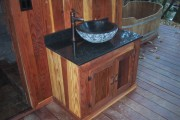 Custom built redwood sink