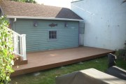Timbertech pacific teak deck with white Radiancerail