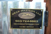 Deck Masters, llc plaque