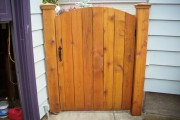 Stained cedar gate