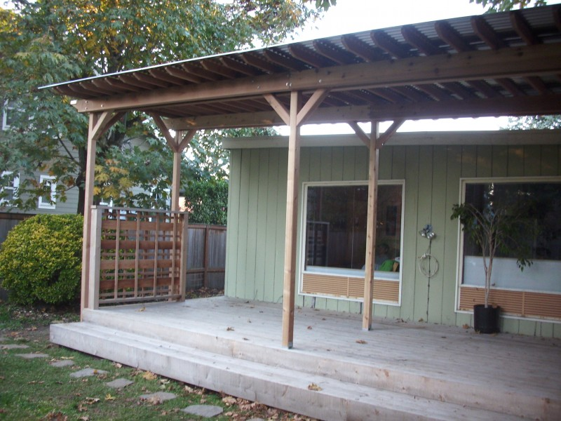 Corrugated metal deck cover deck masters llc portland or for Metal roof porch pictures